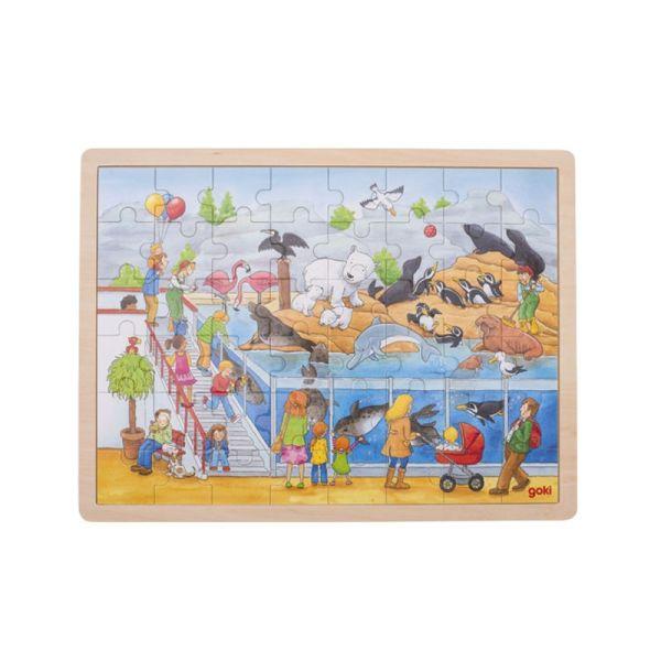 """goki 57744 Einlegepuzzle """"Ausflug in den Zoo"""" Holz"""