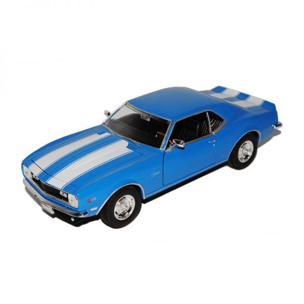 Welly 22448 Chevrolet Camaro Z28 1968 blau/weiß Maßstab 1:24 Modellauto