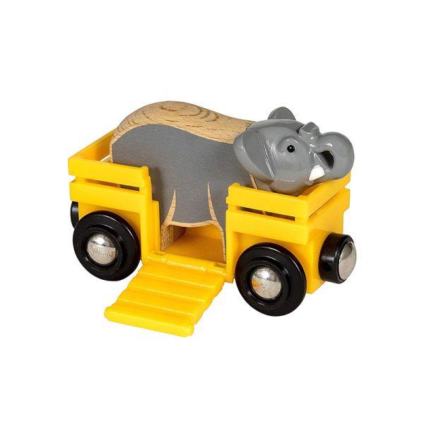 Brio 33969 Tierwaggon mit Elefant für Holzeisenbahn