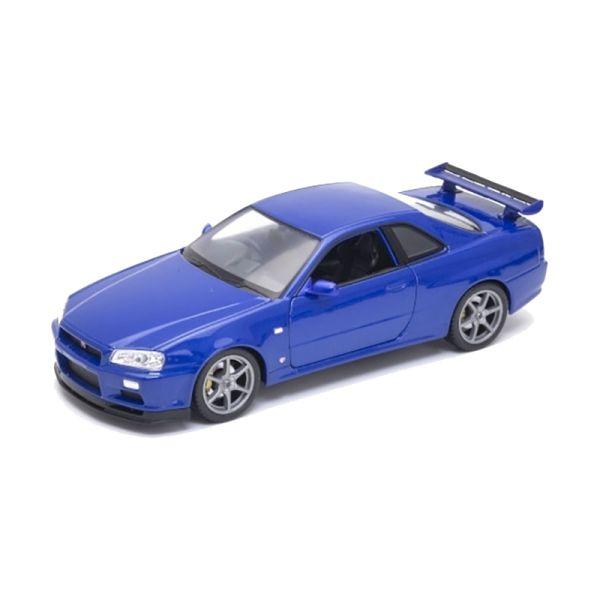 Welly 24108 Nissan Skyline GT-R (R34) blau metallic Maßstab 1:24 Modellauto